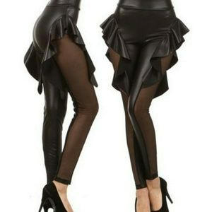 Pants - Ruffled faux leather leggings with sheer sides
